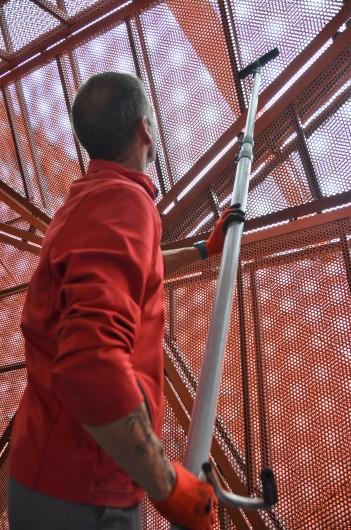 Nettoyage en hauteur avec cannes telescopiques