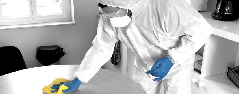 Désinfection des surfaces avec des produits avec action bactéricide, levuricide, virucide et fongicide