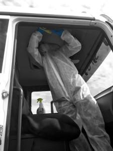 Désinfection cabine camion contaminée coronavirus